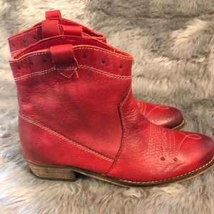 Red leather Zara boots